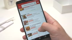 4K Browsing Restaurants on Yelp Review App - stock footage