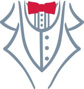 Grey tuxedo with red bow tie Stock Illustration