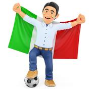 3D Football fan with the flag of Italy - stock illustration