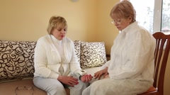 Doctor and patient, measurement of blood pressure - stock footage