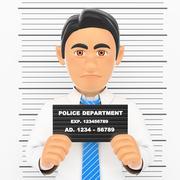 3D Businessman arrested. White collar criminal police photo - stock illustration
