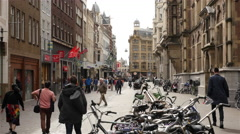 Time Lapse of Busy Street in The Hague Netherlands Stock Footage