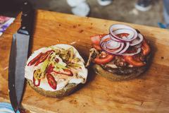 Street fast food, hamburger cooking at desk - stock photo