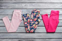 Pink and blue trousers. Stock Photos