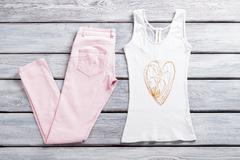 Light pink pants and top. Stock Photos