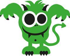 Green ugly monster smiling Stock Illustration
