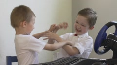 children quarrel and fight because of computer game - stock footage