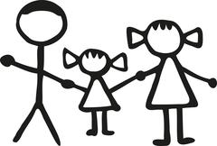 Stickman family - dad daughter Mom Stock Illustration