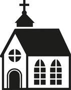 Church with big windows - stock illustration