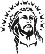 Jesus christ head with halo - stock illustration