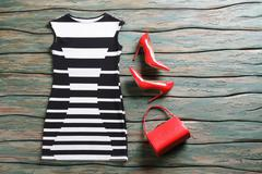 Sleeveless dress and heel shoes. Stock Photos