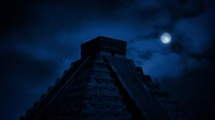 Aztec Pyramid In Jungle At Night Stock Footage