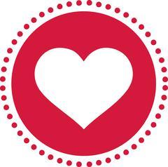 Heart icon retro - circle with heart cutout Stock Illustration