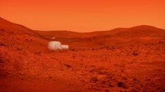 Space Base On Mars With American Flag Stock Footage