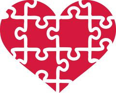 Heart of puzzle pieces Stock Illustration