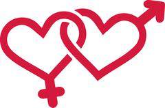 Gender symbols with hearts - stock illustration