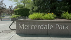Entrance Sign to Mercerdale Park in Mercer Island, WA Stock Footage