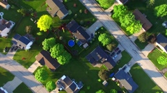 Beautiful, suburbs with stunning houses and yards, early morning, aerial view Stock Footage