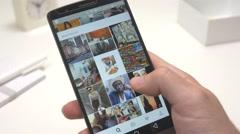 4K Instagram App Being Used on Smartphone Stock Footage