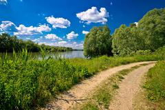 River Drava landscape and path Stock Photos