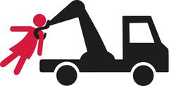 Getting a woman with a towing vehicle pictogram Stock Illustration