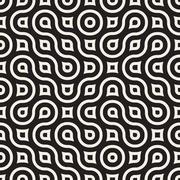 Vector Seamless Black And White Irregular Rounded Lines Pattern - stock illustration