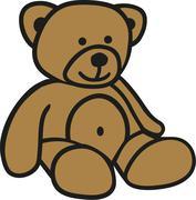 Cute comic teddy bear - stock illustration