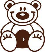 Cartoon teddy bear outline - stock illustration
