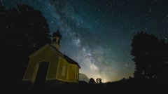 Milkyway time lapse chapel - stock footage