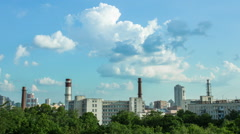 Clouds over the smokestacks Stock Footage