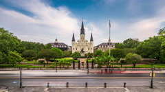 New Orleans, Louisiana, USA at Jackson Square Time Lapse Arkistovideo