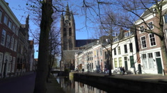 Oude Delft Canal, Oude Kerk, Delft Netherlands, 4K Stock Footage