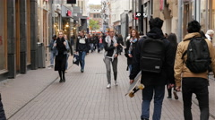 Time Lapse of Pedestrians in Busy Alley - The Hague Netherlands Stock Footage