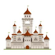 Royal family castle with guard walls, main palace - stock illustration