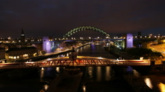 Night timelapse of traffic on the bridges in Newcastle, England Stock Footage