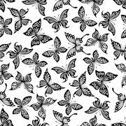 Black and white butterflies seamless pattern - stock illustration