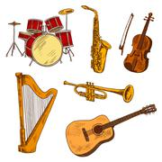 Concert musical instruments colored sketches - stock illustration