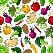 Fresh picked vegetables seamless pattern - stock illustration