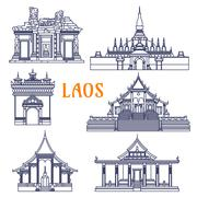 Laotian temples thin line icon for travel design - stock illustration