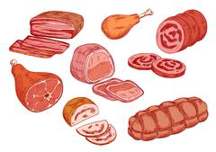 Sausages, ham and baked meat sketch icons - stock illustration