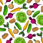 Vegetarian seamless pattern with fresh vegetables - stock illustration