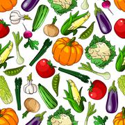 Seamless farm grown organic vegetables pattern Stock Illustration
