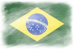 Brazilian flag on plain background - stock illustration