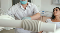 Portrait of a patient to the dentist for a check up and a dental cleaning Stock Footage