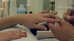 Beauty salon, Nail Polish, Manicure. close up shot - stock footage