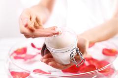 Jar of cosmetic preparation Spa & Wellness - stock photo