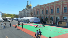 Installing Ice Hockey World Championship Fan Zone in St. Petersburg Stock Footage