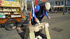Man Making Wooden Shoes, Delft Netherlands, 4K -clip #1 - stock footage