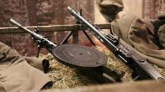 USSR Degtyaryov machine gun and German MG42 machine gun Stock Footage