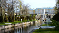 Grand Palace and Grand Cascade in Peterhof, St. Petersburg, Russia Stock Footage